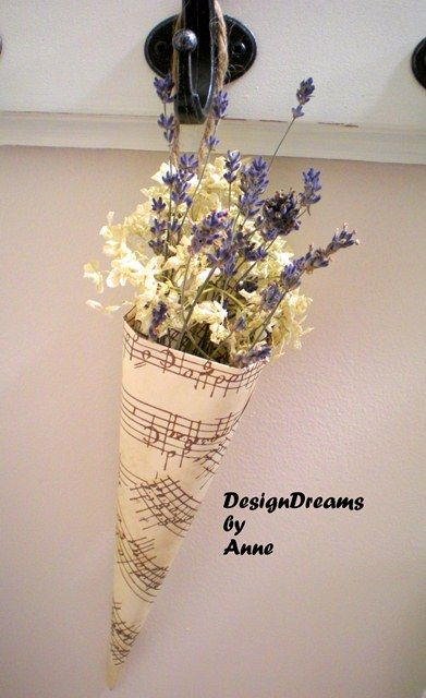 DesignDreams by Anne: Music Sheet Cone Vase, but with vintage yellow and pink paper
