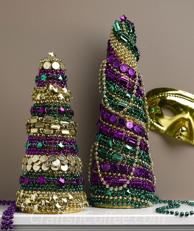 Decorating your house for Mardi Gras. DIY Mardi Gras tree cones.