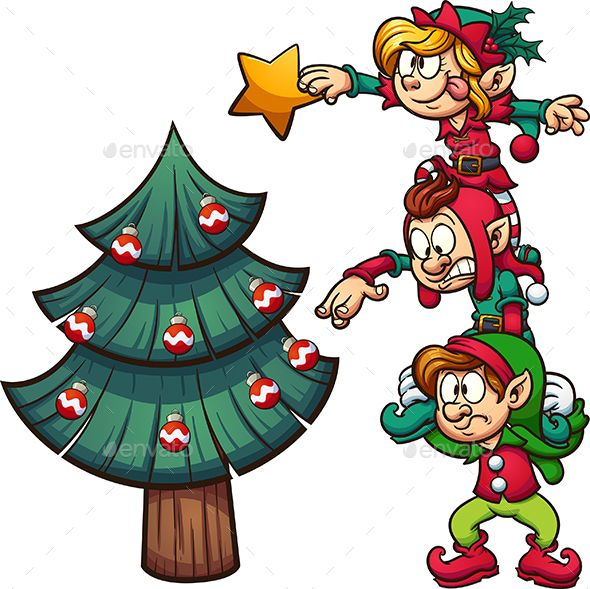 Elves Decorating Christmas Tree Christmas Drawing Christmas Illustration Christmas Cartoons