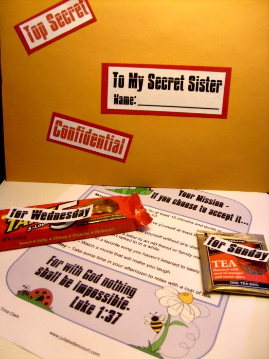 secret sister mission gift idea, I like the idea and could vary for different people.