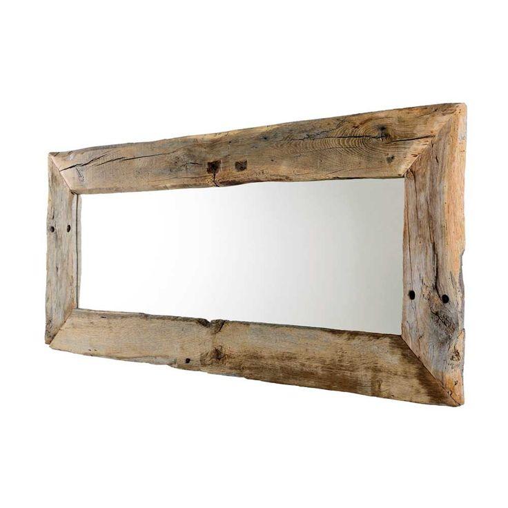 Dielenspiegel Finlays – Eiche Altholz/Spiegelglas – Naturbelassen – Breite: 180 cm