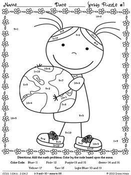 """EARTH DAY!   9 MATH PUZZLES! """"Sum"""" Spring Showers: Spring Math Printables ~ Color By The Code Puzzles To Practice Basic Addition Facts. ~This Unit Is Aligned To The CCSS. Each Page Has The Specific CCSS Listed.~ This set includes 9 math puzzles... Skills covered: ~ +7 and +8 Sums to 19 ~ +9 and +10 Sums to 19 ~ Doubles, Doubles Plus One ~ Three Addends~ Missing Addends~Addition. Set also includes 9 answer keys for the 9 puzzles as well as examples and display ideas. $"""