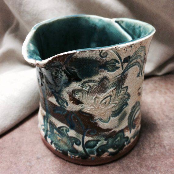 Turquoise Ceramic Plant Pot Herb Ceramic Planter Handmade Artisan Pottery Hand Stamped Turquoise Glazed Red White Earthenware Creamer Ceramic Plant Pots Herb Pots Ceramic Flower Pots