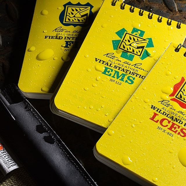 Our emergency response notebooks are a perfect match for a Recycled Firefighter Cover made from recycled firehose.