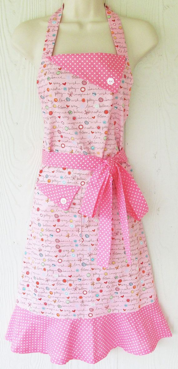 Cute Pink Apron Pink Polka Dots 50's Vintage Style by KitschNStyle