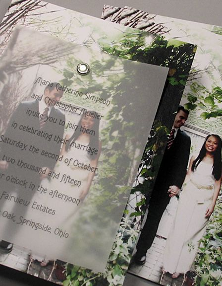 New Fab Photo Cards with Vellum Overlay and Crystal Brad - Invitation Ideas