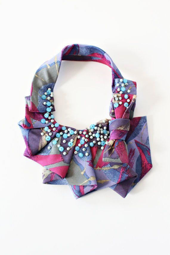 Nicole Deponte/lilianasterfield - Ruffle Collar - vintage necktie, beads