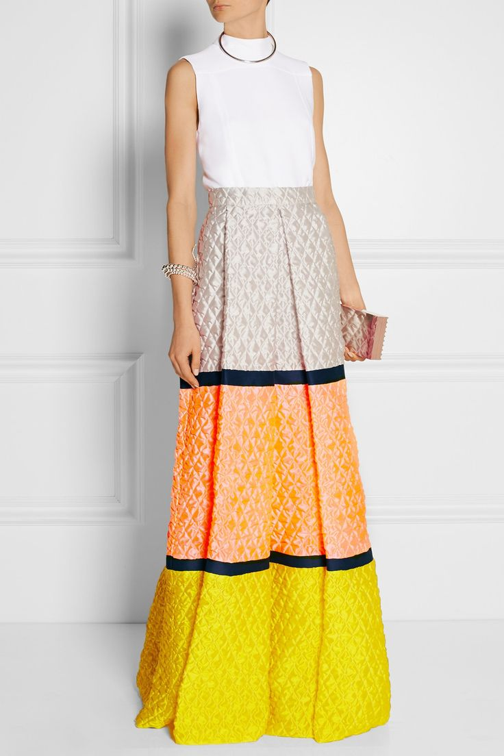 Roksanda | Color-block matelassé maxi skirt | NET-A-PORTER.COM