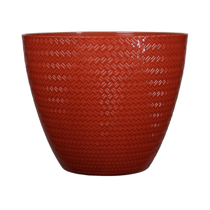 Garden Treasures 20.2-in x 17.9-in Red Resin Planter