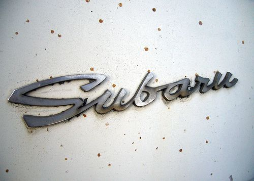 vintage Subaru chrome typography