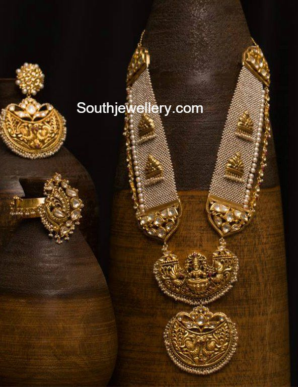 Antique Gold Nakshi Haram and Earrings Set
