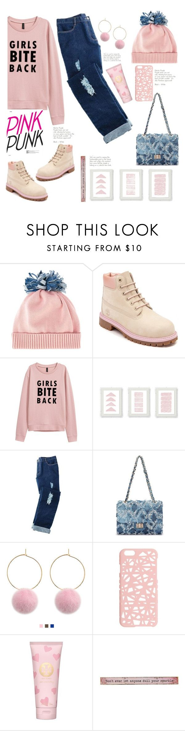 """""""girls bite back"""" by felicitysparks ❤ liked on Polyvore featuring Federica Moretti, Timberland, Avon, Miss Selfridge, Tory Burch and Natural Life"""