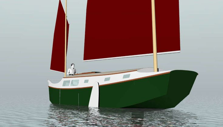 Trailerable Houseboat Plans | ... II, 30' LOD, 27' LWL Sailing Scow ~ Small Boat Designs by Tad Roberts