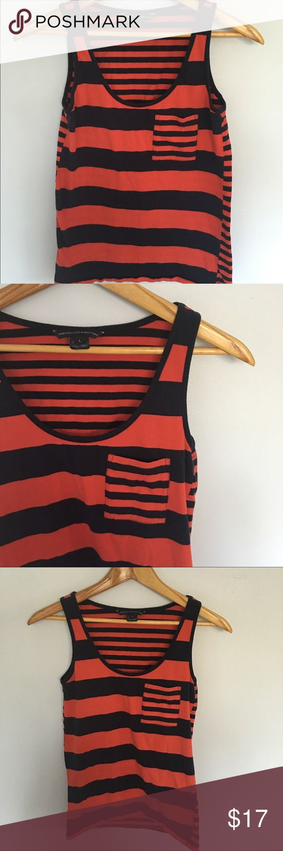 French Connection Orange & Navy Striped Tank Top L French Connection tank top. Comfy and easy to wears. Dress it up or down. Only worn a handful of times. Last picture is the same top on model in white & navy. French Connection Tops Tank Tops