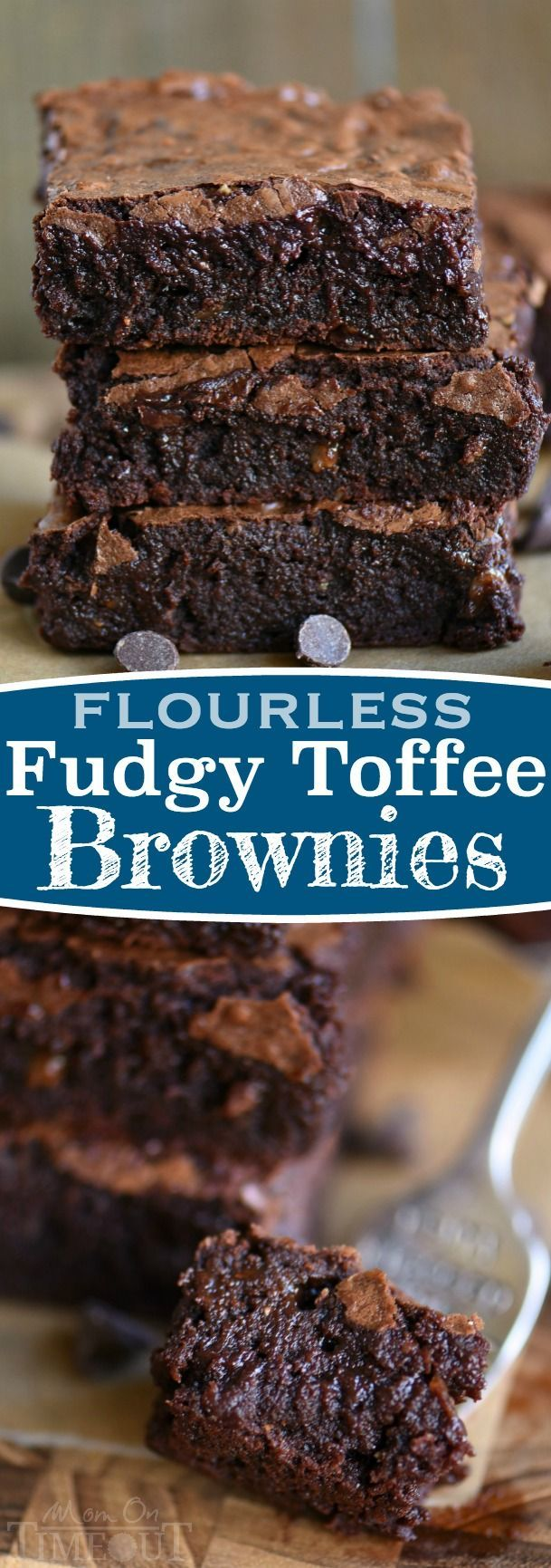 The BEST brownies I've ever had and they just happen to be naturally gluten free! Made without any flour, these Fudgy Toffee Flourless Brownies are naturally gluten free and are going to blow you away! So rich, so fudgy, and absolutely BURSTING with rich, chocolate flavor! A secret ingredient is the key!