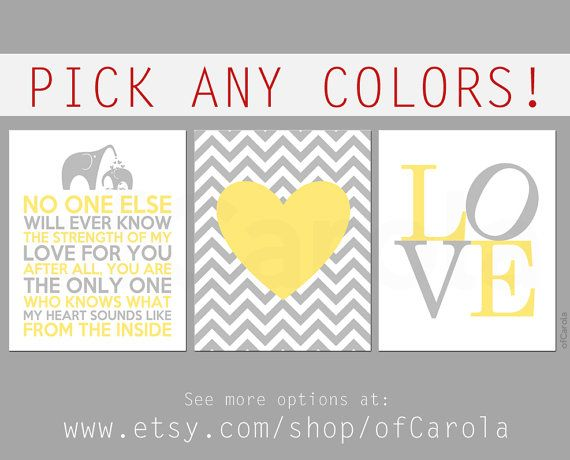 Baby Love Elephants Heart Nursery Wall Art Print Set by ofCarola