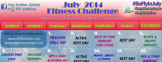 Be FLY in July: completed the first half then slid off the wagon doing only 2-3 workouts a week the last half...