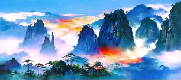 Китайский художник Hong Leung. Красивый пейзаж маслом четырнадцатый