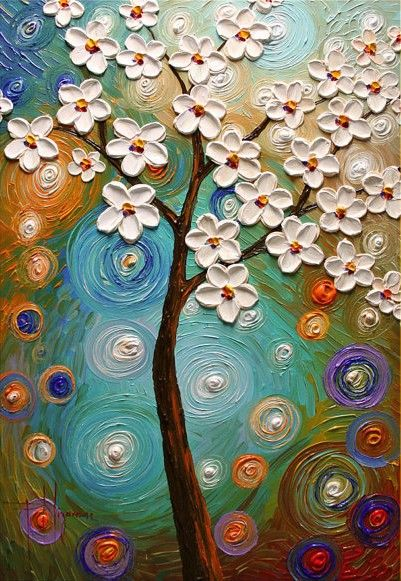 Spring Blooms by artist Paula Nizamas - Original Abstract Modern Texture Painting