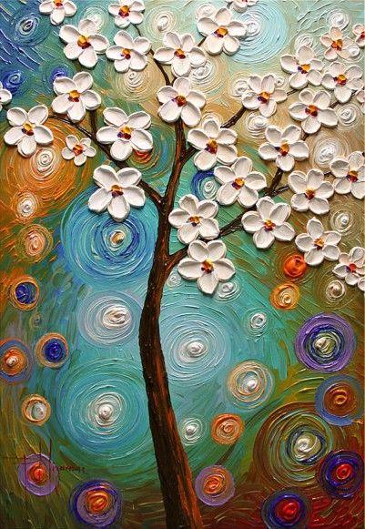 Spring Blooms by artist Paula Nizamas - Original Abstract Modern Texture Painting