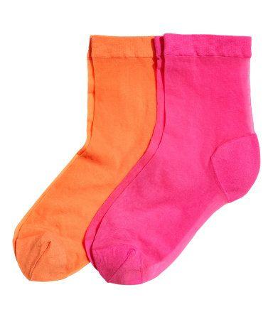 Pack de 2 calcetines de nailon | Cereza/Naranja | Mujer | H&M MX