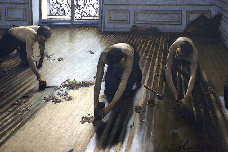 Les Raboteurs de parquet - Un tableau du peintre français Gustave Caillebotte (1848-1894) réalisé en 1875. Cette peinture à l'huile sur toile est conservée au Musée d'Orsay, à Paris.  Exposition jusqu'au au 20 juillet 2014 à Yerres (Rer D direction Melun, en 20 mn depuis la gare de Lyon).
