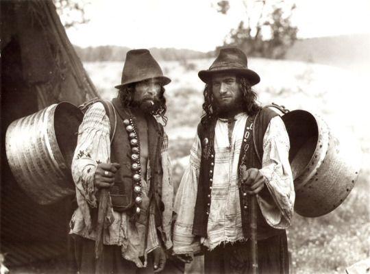 Kalderari men near a tent. 1930s. A photo from Florin Petru Manole's archive