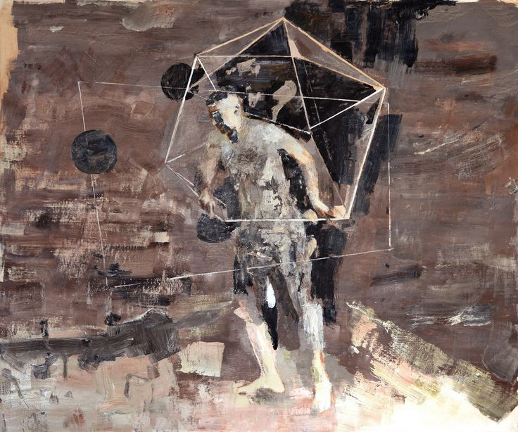 Bogdan Vladuta, Polyhedron Man, 2013 oil on canvas 66 x 80.3 in (168 x 204 cm)