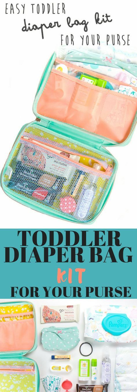 This Toddler Diaper Bag Kit is an easy way to carry all of your toddler's (and your) essentials around, without having to lug an entire diaper bag with you!