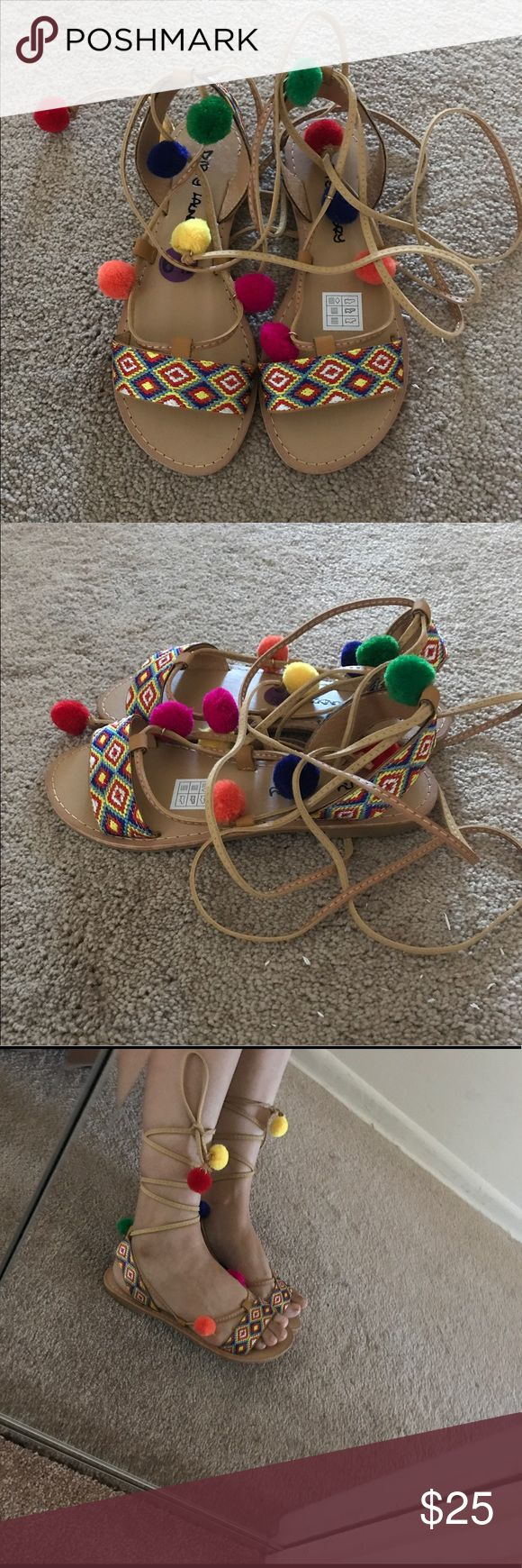 Women's multicolor decorated lace up sandals New without original tags. No damage or no defects and never worn. Comes from a smoke free and pet free home. Fast shipping! dirty laundry Shoes Sandals