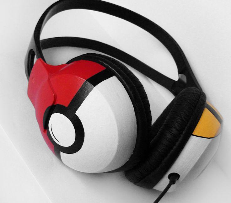 Poke-phones headphones earphones in black red and white handpainted.