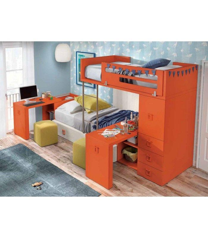 cama elevada para litera tren con mesas de escritorios extrables todo compacto en menos espacio