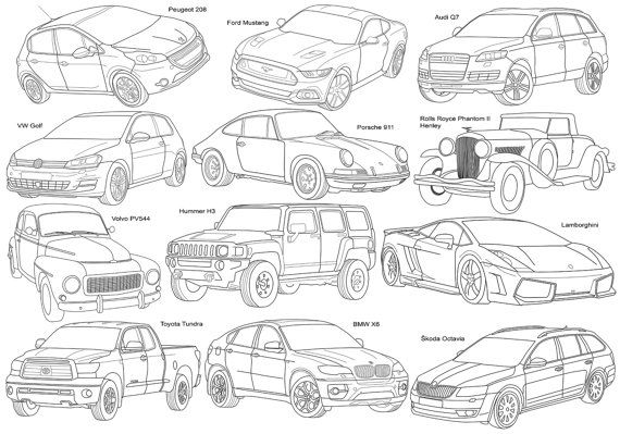 Adult Coloring Page Cars Poster Size Instant Download by Recyman
