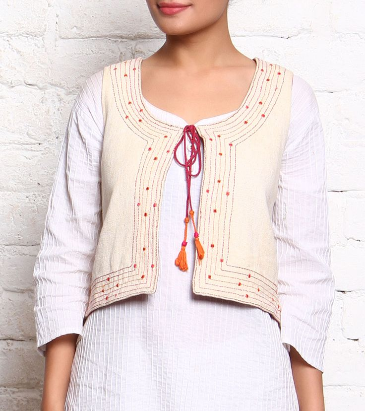 Off White Hand Loom Cotton Embroidered Jacket #cotton #embroidery #kurtis #jackets