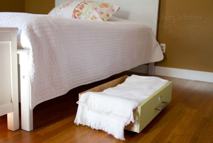 Before you drag an old piece of furniture out to the curb, consider repurposing the drawers as under-the-bed bins (add wheels to make access even easier). Bonus: They blend better with the room design than plastic boxes. See more at Tinker With This »  - GoodHousekeeping.com