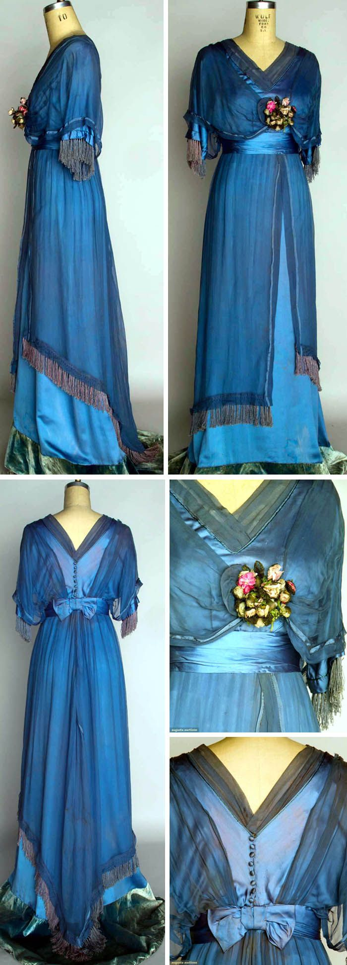 Powder blue silk satin gown, ca. 1912, with blue chiffon overdress, ribbon rosette trim, and trained skirt with velvet hem band. Augusta Auctions