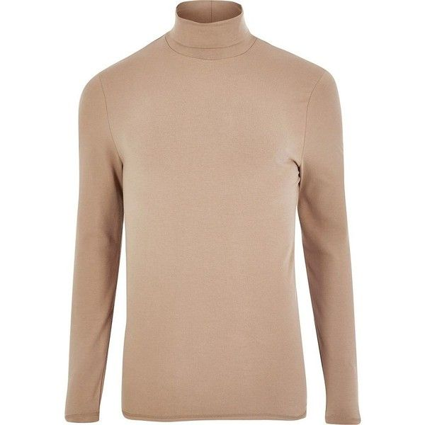 River Island Blush pink muscle fit roll neck T-shirt (€5,69) ❤ liked on Polyvore featuring men's fashion, men's clothing, men's shirts, men's t-shirts, pink, sale, mens pink shirts, mens long sleeve t shirts, mens cotton shirts and mens long sleeve shirts