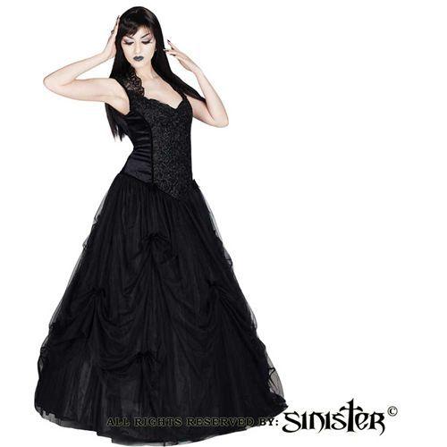 Raylene fluwelen lange jurk met Queen Anne halslijn zwart - Victoriaans Gothic Middeleeuws Halloween