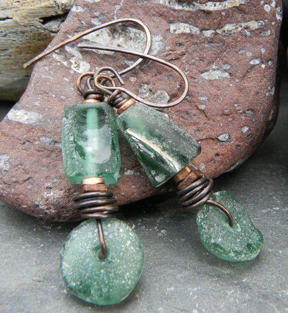 Roman Glass Earrings Copper Wire Wrapped Green by ChrysalisToo, $45.00