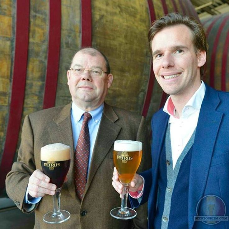 Ignace De Brabandere and his son Bert enjoying their Petrus Aged Red and Petrus Aged Pale sour ale. #petrussours #petrussourbeer #petrussourale #sourbeer #sourale #debrabandere #brewerydebrabandere #brouwerijdebrabandere #petrusagedred #petrusagedpale #foeders #sour #brewery #brewedinbelgium #craftbeer #belgianfamilybrewers #beertourism #craftbeer #beer