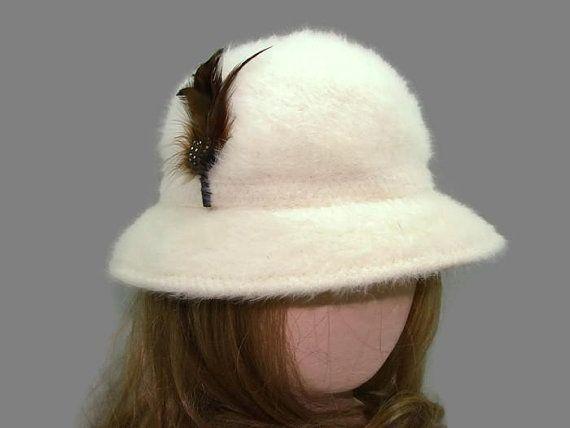6d4dba724ec White Kangol Design Angora and Wool Bucket Hat