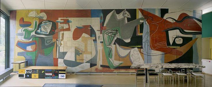 Wall mural of the Pavillon Suisse at Cité Universitaire by Le Corbusier