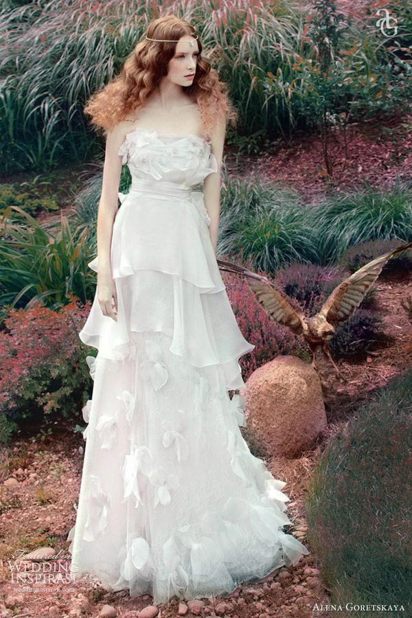 fairy fantasy,  alena goretskaya wedding dress 2013 vilena strapless bridal gown