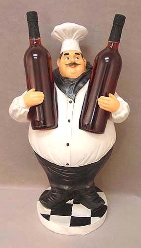 Perfect Fat Chef Wine Bottles Holder Statue, Restaurant Decor, Kitchen Decor So  Cute!