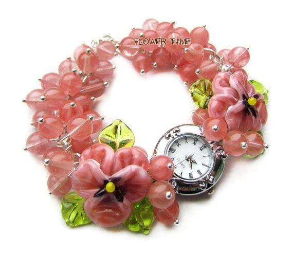 Woman wrist watch lampwork watch pink beaded watch от FlowerWatch