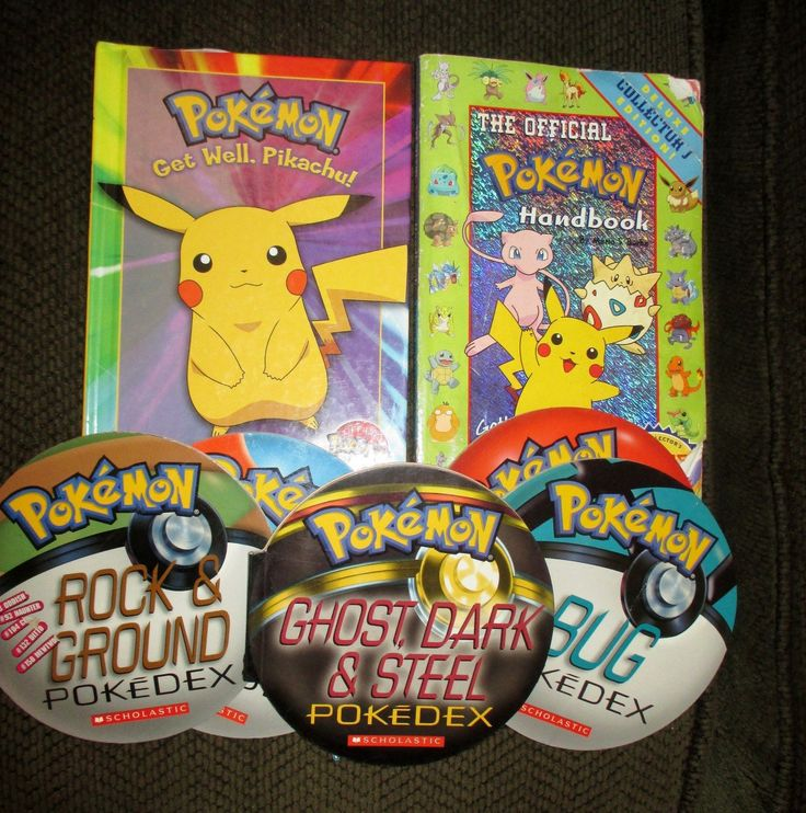 Lot 5 Pokemon Pokedex Round Pokeball books & Official Pokemon Handbook+other