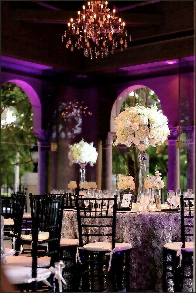 White Roses And Hydrangeas, Platinum Rose Linens, Black Chivari Chairs And  The Lighting Gave The Room A Soft Ambience. Eggplant / Purple And Grey  (gray) ...