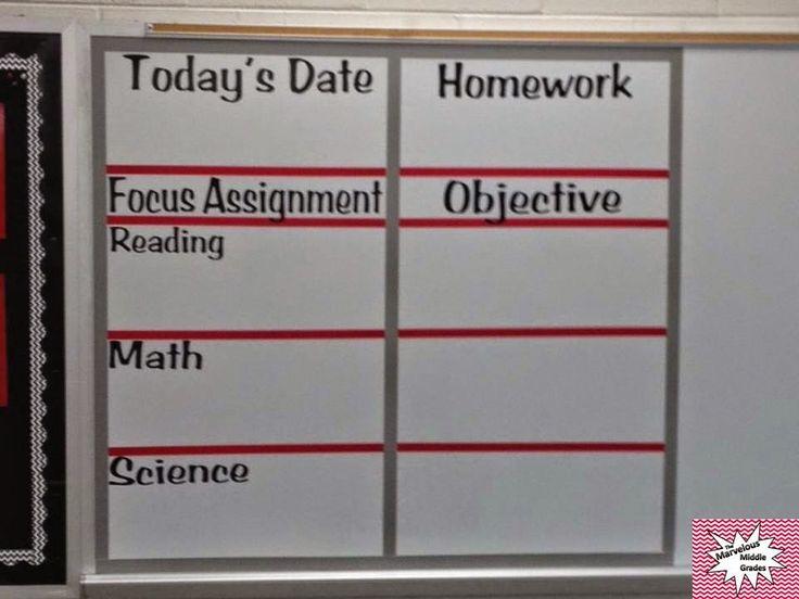 The Marvelous Middle Grades: Classroom Agenda Board