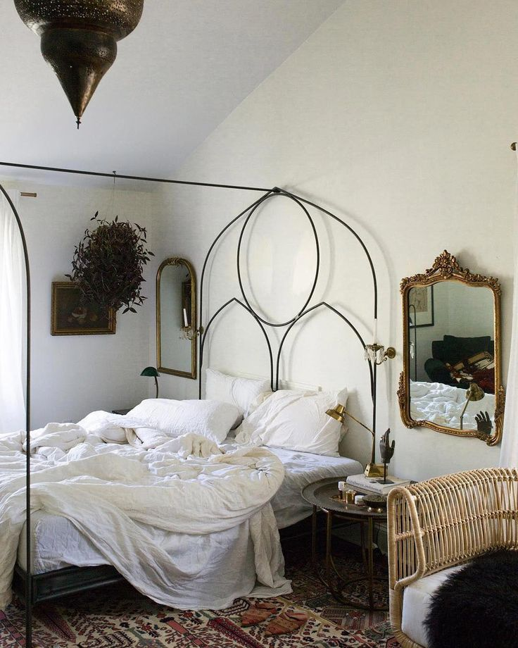 Linen Venice Set Iron canopy bed, Canopy bed frame