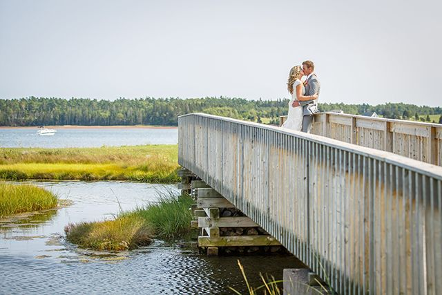 Coral and Grey Wedding in Brudenell, Prince Edward Island